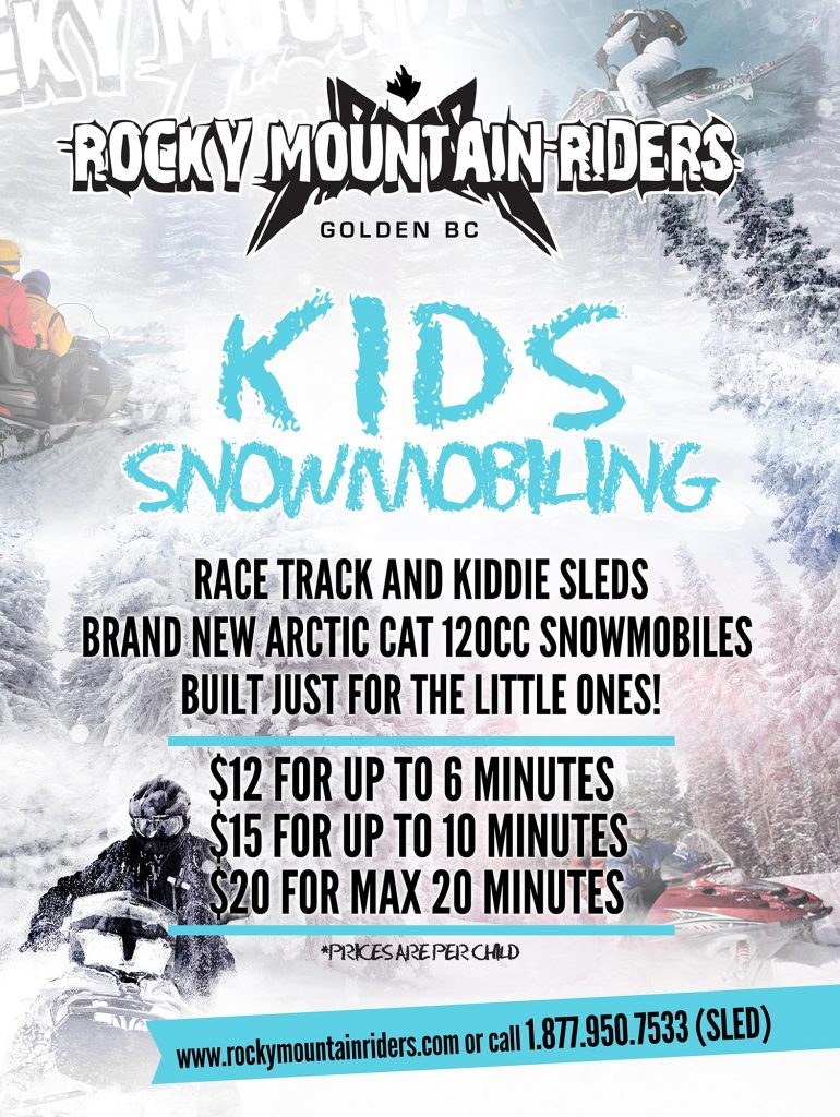 kids snowmobiling poster